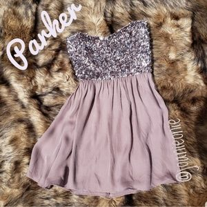 PARKER Colour Strapless Silk Sequin Mauve